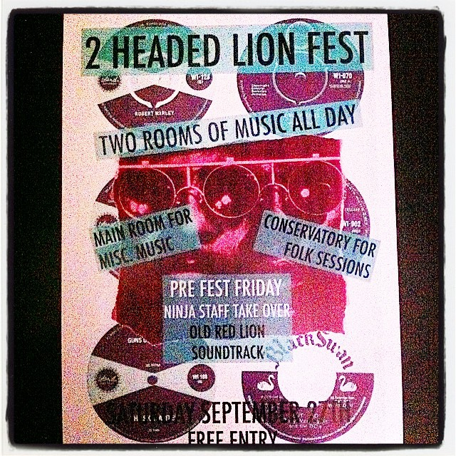 #2headedlion Saturday 27th Sept, all day great music for free! @refolkunion @TheGetGone #anabonbon and many, many more